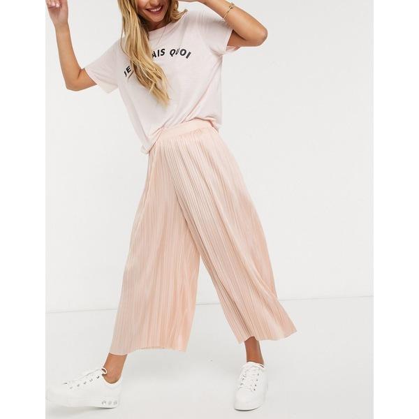 エイソス レディース スカート ボトムス ASOS DESIGN culotte pants in pleated satin Blush