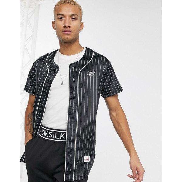 シックシルク メンズ シャツ トップス SikSilk striped baseball jersey in black Black