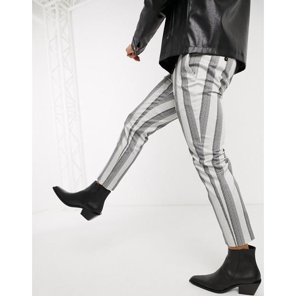 ツイステッドテイラー メンズ カジュアルパンツ ボトムス Twisted Tailor slim tapered pants with chain in cream stripe Cream