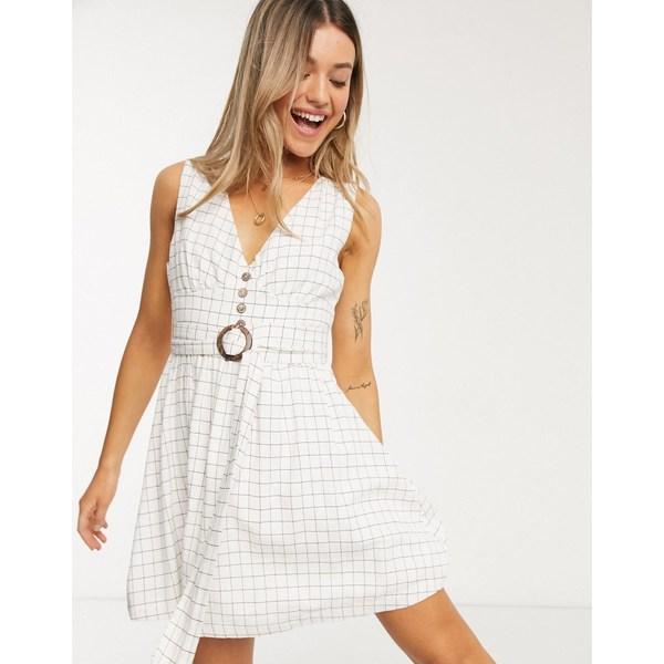 ジリ レディース ワンピース トップス Gilli button down mini dress with belt detail in check Black