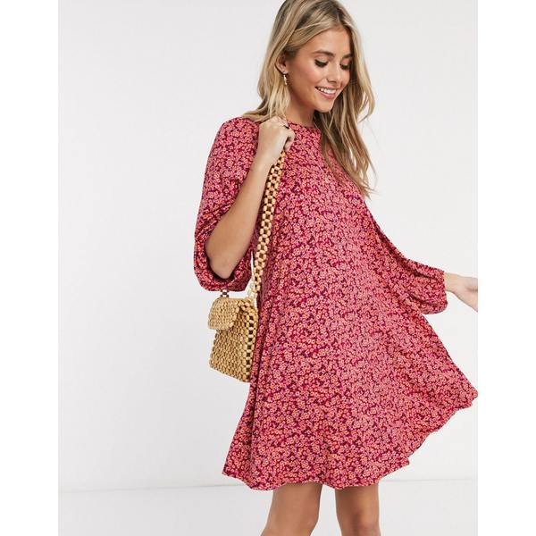 エイソス レディース ワンピース トップス ASOS DESIGN mini dress with volume sleeve in floral print in pink Pink floral