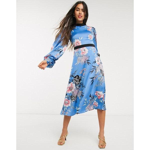 リクオリッシュ レディース ワンピース トップス Liquorish floral dress with volume sleeves and open back Light blue