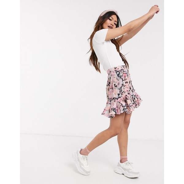 エイソス レディース スカート ボトムス ASOS DESIGN mini skirt with ruffle detail in pink floral print Pink floral