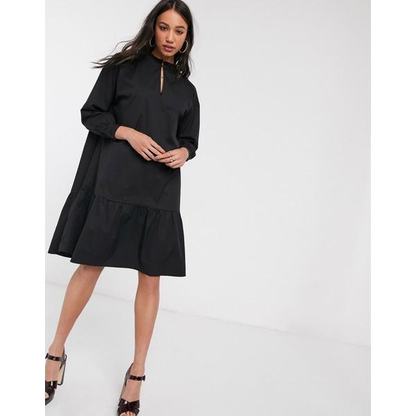 オブジェクト レディース ワンピース トップス Object high neck tiered midi smock dress in black Black