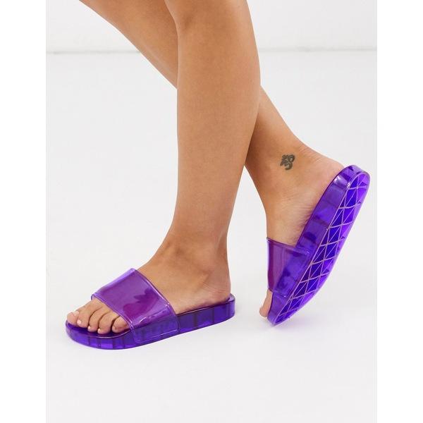 エイソス レディース サンダル シューズ ASOS DESIGN Frost pool slider in purple Dark purple