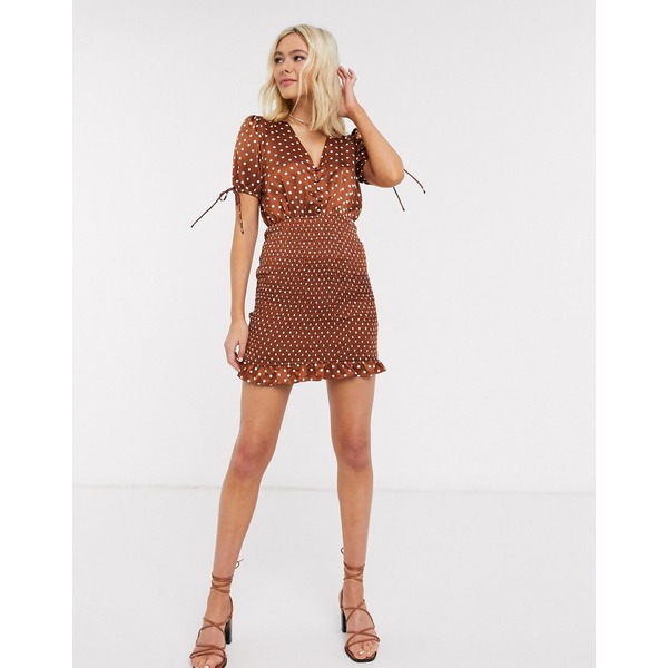 ムーンリバー レディース ワンピース トップス Moon River satin bodycon dress in brown polka dot Rust dot