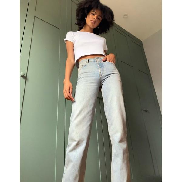 エイソス レディース デニムパンツ ボトムス ASOS DESIGN High rise '90's' straight leg jeans in antique wash Dusty pink tint