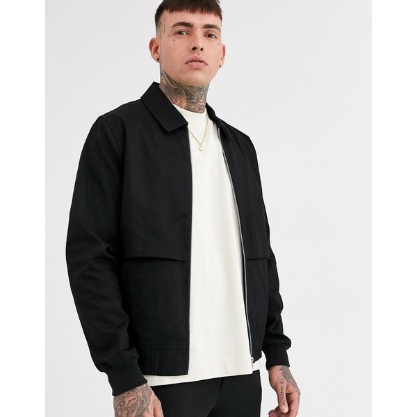 エイソス メンズ ジャケット&ブルゾン アウター ASOS DESIGN two-piece harrington jacket with storm vent in black Black
