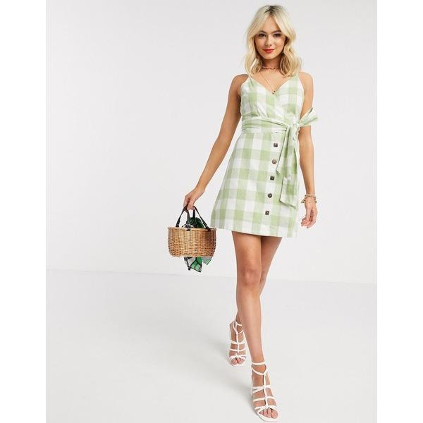 ジリ レディース ワンピース トップス Gilli button down mini dress in green gingham Light green