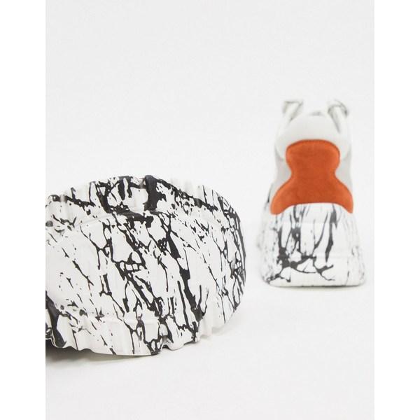 キューピッド レディース スニーカー シューズ Qupid marble sole extreme chunky flatform sneakers in multi Multi gray/orange