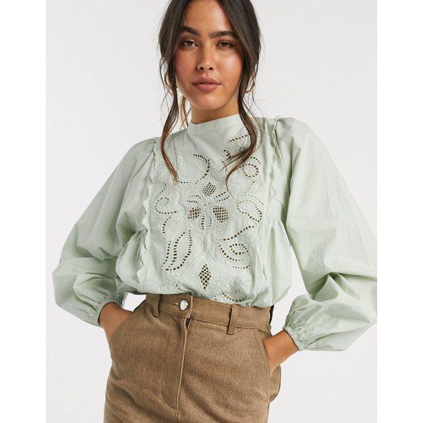 リバーアイランド レディース シャツ トップス River Island embroidered cutwork volume sleeve blouse in green Green