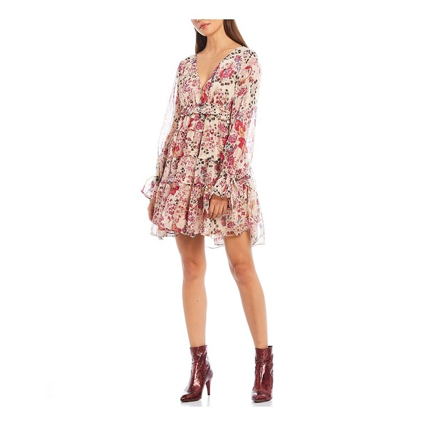 フリーピープル レディース ワンピース トップス Closer To The Heart Floral Print Tiered Plunge V-Neck Mini Dress Ivory