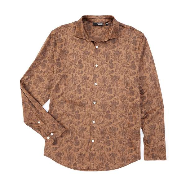 ムラノ メンズ シャツ トップス Liquid Luxury Floral Print Jacquard Long-Sleeve Coatfront Shirt Brown