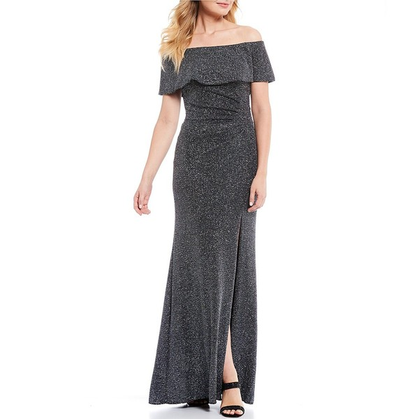 エスケープ レディース ワンピース トップス Off-the-Shoulder Ruched Glitter Knit Metallic Gown Black/Gold/Gunmetal