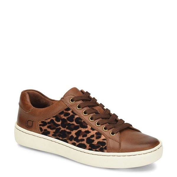 ボーン レディース スニーカー シューズ Sur Leather Leopard Print Fabric Sneakers Light Brown Leopard
