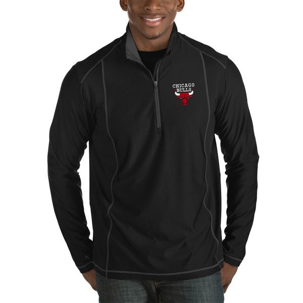 アンティグア メンズ ジャケット&ブルゾン アウター Chicago Bulls Antigua Tempo Big & Tall HalfZip Pullover Jacket Charcoal