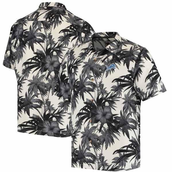 トッミーバハマ メンズ シャツ トップス Detroit Lions Tommy Bahama Sport Harbor Island Hibiscus Camp ButtonDown Shirt Black