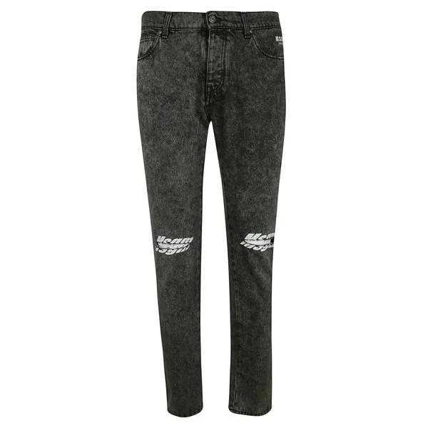 エムエスジイエム メンズ デニムパンツ ボトムス MSGM Distressed Jeans black