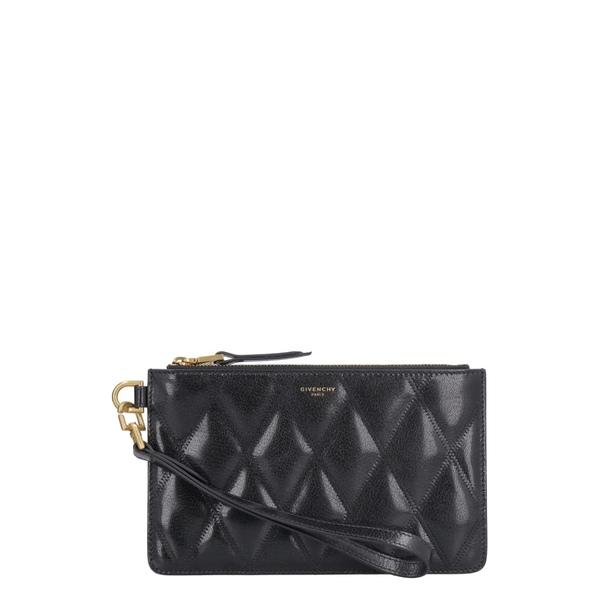 ジバンシー レディース クラッチバッグ バッグ Givenchy Small Quilted Leather Flat Pouch black