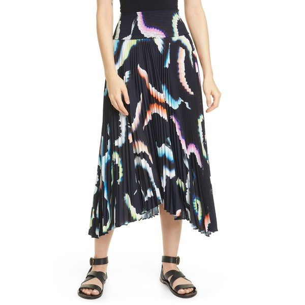 エーエルシー レディース スカート ボトムス Sonali Asymmetrical Pleated Midi Skirt Midnight/ Multi