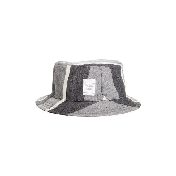トムブラウン メンズ 帽子 アクセサリー Stripe Wool & Cotton Bucket Hat Med Grey