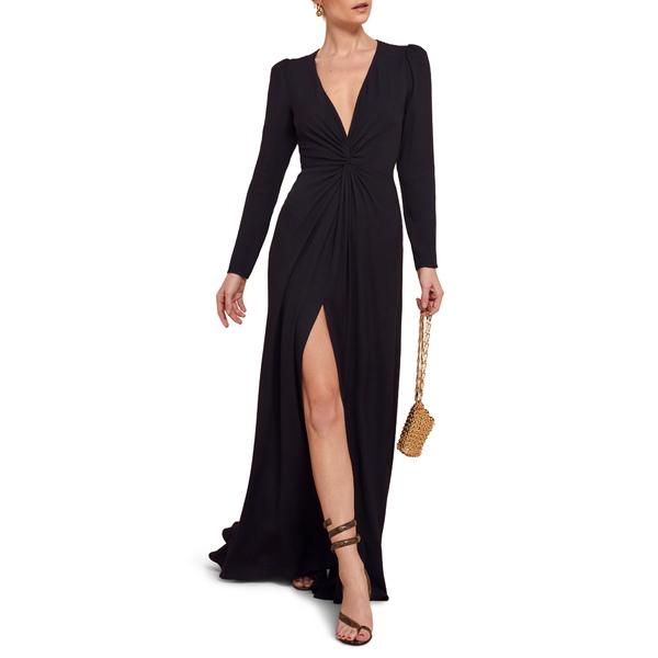 リフォメーション レディース ワンピース トップス Gatsby Front Slit Long Sleeve Maxi Dress Black