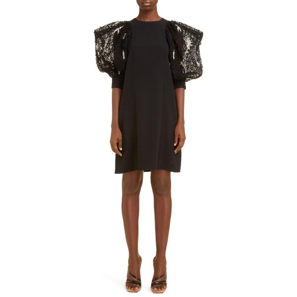 ジバンシー レディース ワンピース トップス Embellished Lace Sleeve Crepe Shift Dress Black