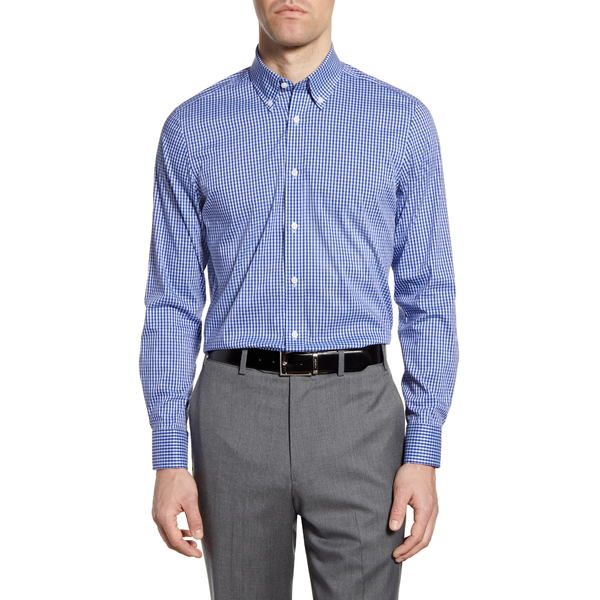 サイコバニー メンズ シャツ トップス Slim Fit Stretch Non-Iron Check Dress Shirt Tonal Blue