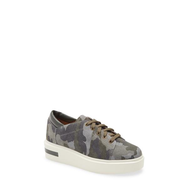 リネアパウロ レディース スニーカー シューズ Kendra Platform Sneaker Camo/ Black Leather/ Suede