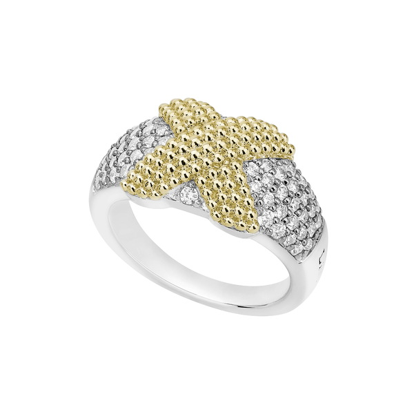 最高の品質の ラゴス レディース リング アクセサリー Caviar Lux Diamond PavRing Two Tone/ Diamond, 北海道フードファクトリー 394dc621