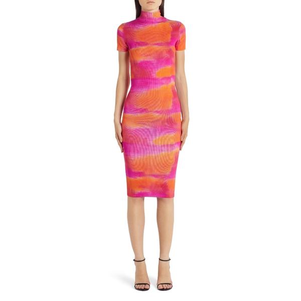 ヴェルサーチ レディース ワンピース トップス Tie Dye Silk Sweater Dress Orange/Pink