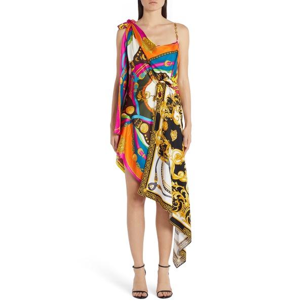 ヴェルサーチ レディース ワンピース トップス Chain Strap Mixed Print Dress Multi