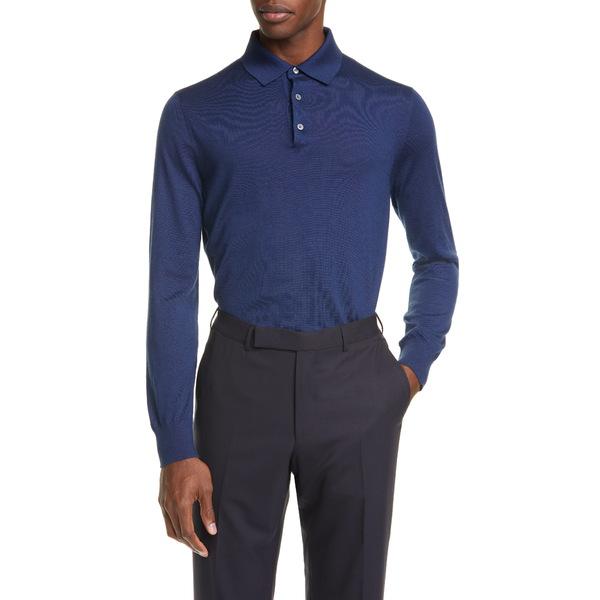 エルメネジルド・ゼニア メンズ シャツ トップス Cashmere & Silk Long Sleeve Polo Shirt Blue