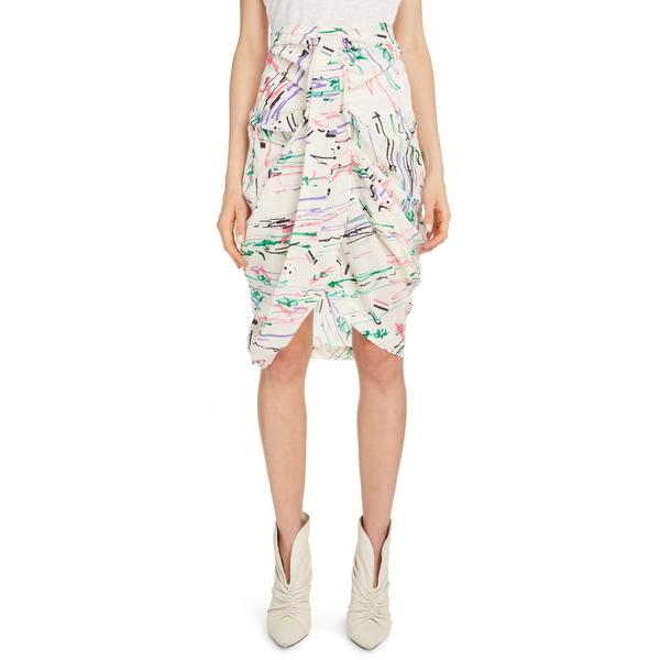 イザベル マラン レディース スカート ボトムス Scribble Print Stretch Silk Skirt Ecru