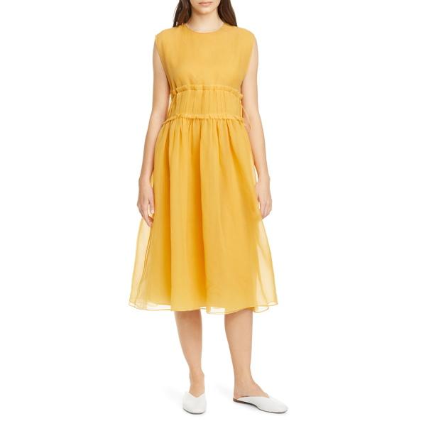 サラ・ランツィ レディース ワンピース トップス Gathered Waist Silk Chiffon Midi Dress Saffron
