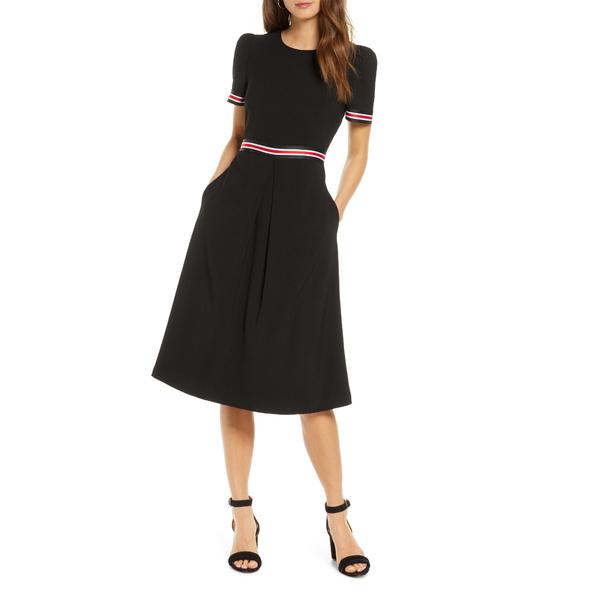 ワンナインオーワン レディース ワンピース トップス Stripe Trim Midi Dress Black