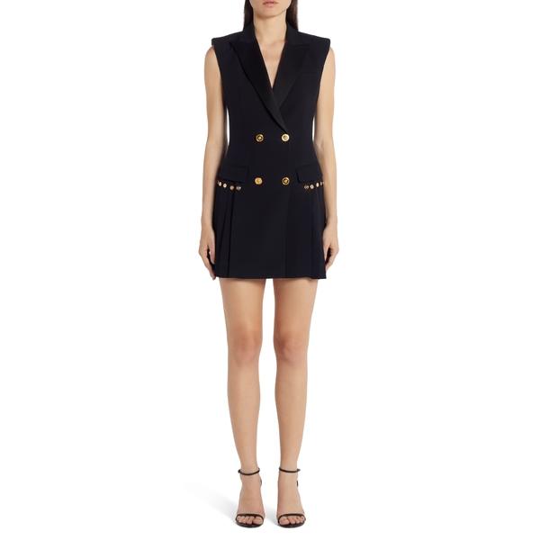 ヴェルサーチ レディース ワンピース トップス Medusa Button Pleated Minidress Black