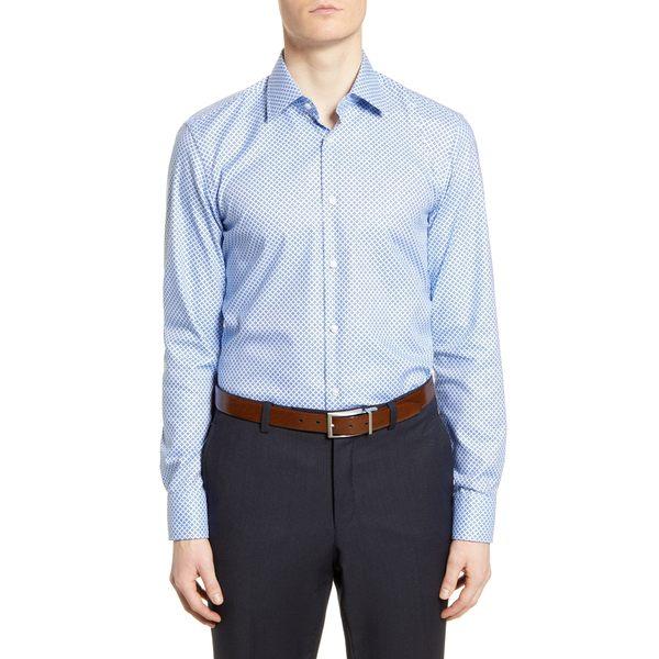 ボス メンズ シャツ トップス Slim Fit Geometric Travel Dress Shirt Navy