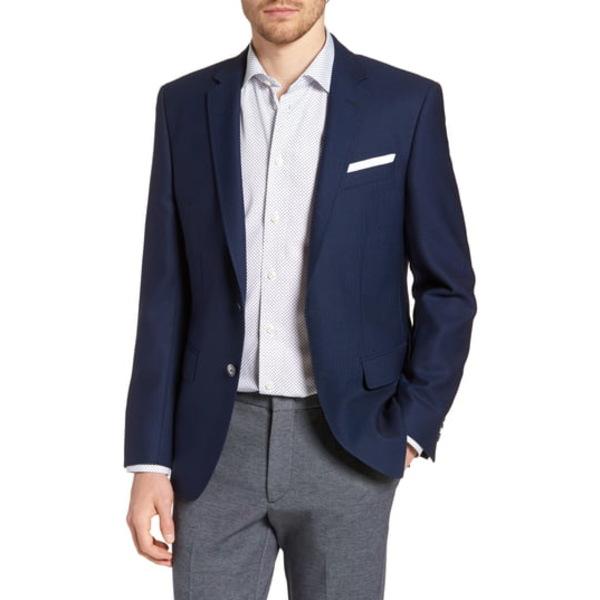 ボス メンズ ジャケット&ブルゾン アウター Hutsons Slim Fit Wool Blazer Blue