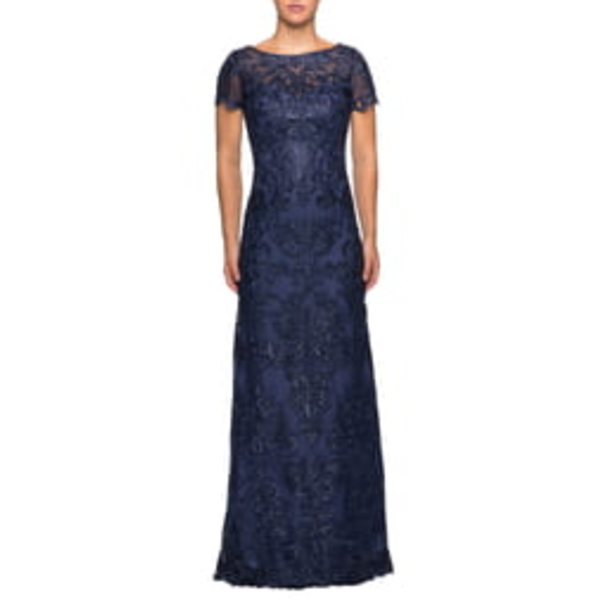ラフェム レディース ワンピース トップス Sequin Embroidered Column Dress Navy