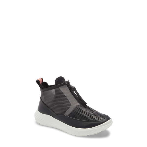 エコー レディース スニーカー シューズ St.1 Lite Mid Zip Sneaker Black Leather