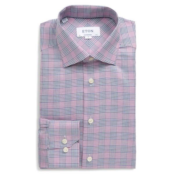 エトン メンズ シャツ トップス Contemporary Fit Plaid Cotton & Linen Dress Shirt Purple