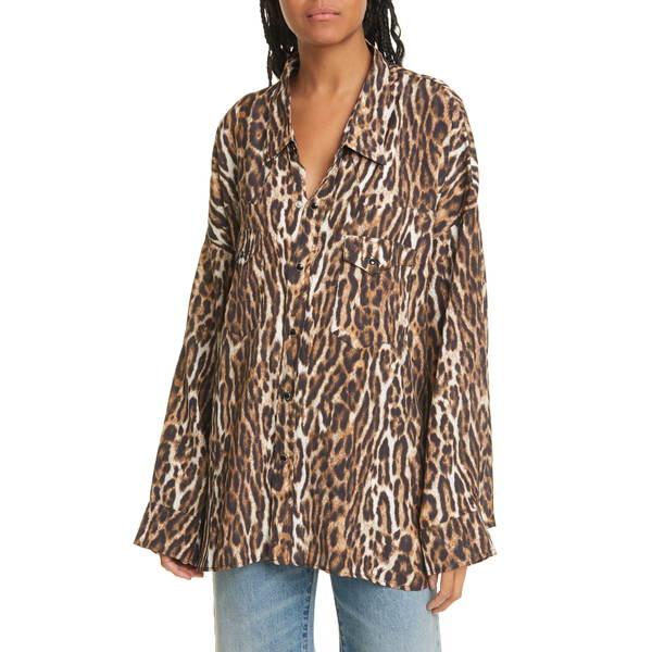 アールサーティーン レディース シャツ トップス Oversize Leopard Print Cowboy Shirt Leopard