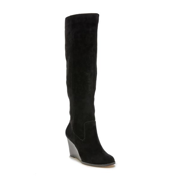 ソロソサエティ レディース ブーツ&レインブーツ シューズ Prony Knee High Wedge Boot Black Leather