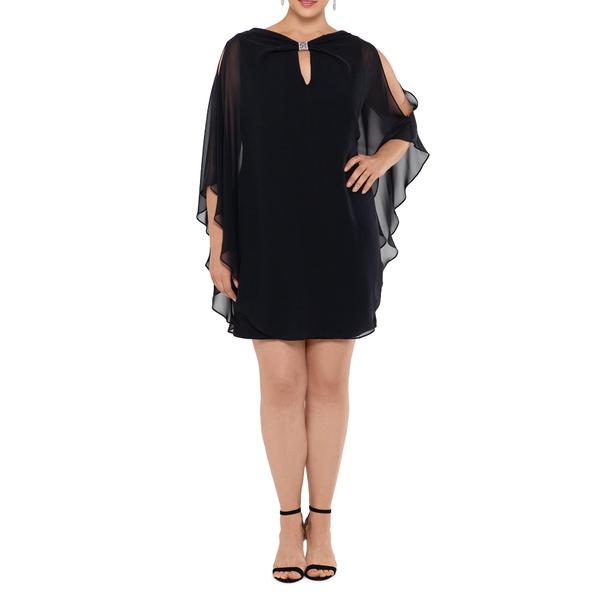エスケープ レディース ワンピース トップス Chiffon Cape Sleeve Cocktail Dress Black