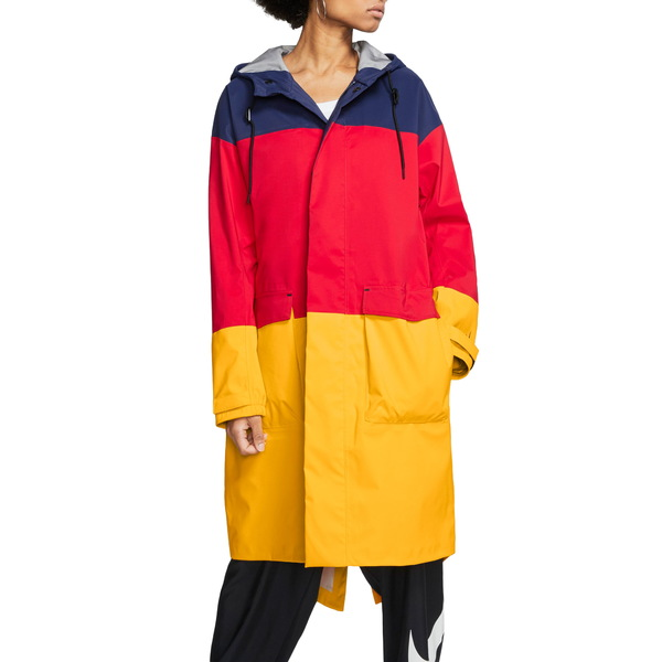 ナイキ レディース ジャケット&ブルゾン アウター Hooded Colorblock Ripstop & Tricot Wind Jacket Midnight Navy/ University Red