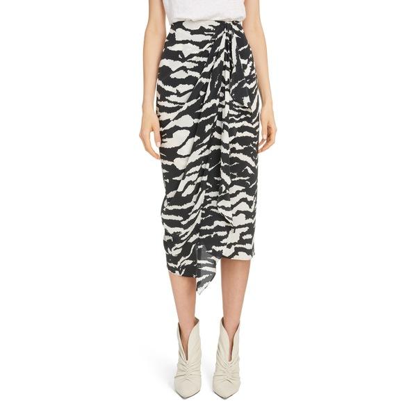 イザベル マラン レディース スカート ボトムス Zebra Print Stretch Silk Drape Midi Skirt Black