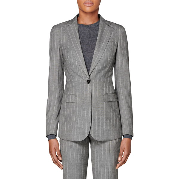 スイスタジオ レディース ジャケット&ブルゾン アウター Cameron Wool Suit Jacket Grey Striped