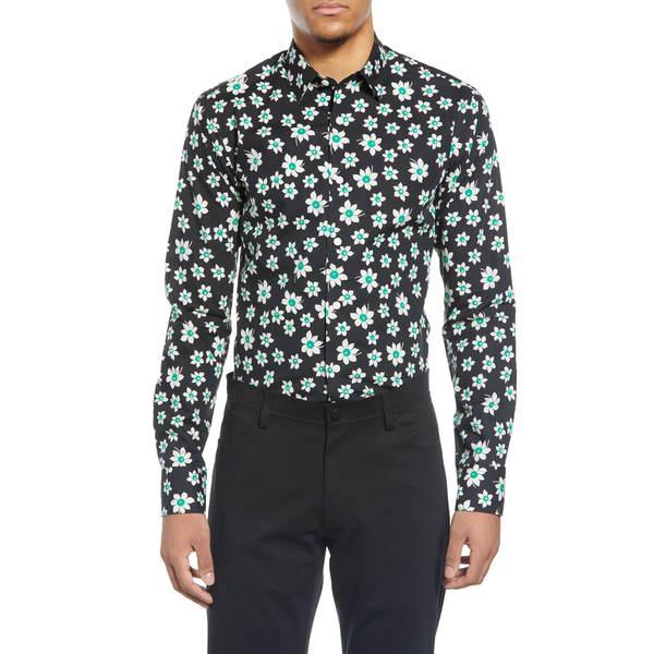 タイガー オブ スウェーデン メンズ シャツ トップス Slim Fit Floral Dress Shirt Black