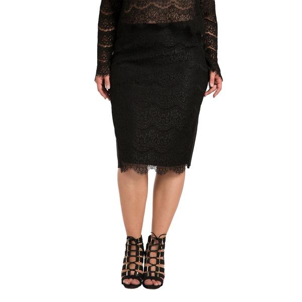 スタンダーズアンドプラクティス レディース スカート ボトムス Tori Lace Overlay Pencil Skirt Black